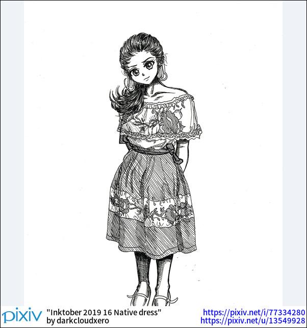 Inktober 2019 16 Native dress