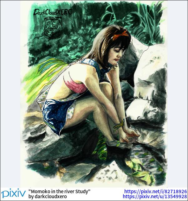 Momoko in the river Study