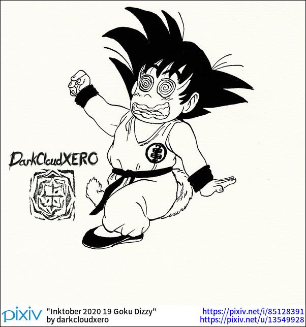 Inktober 2020 19 Goku Dizzy