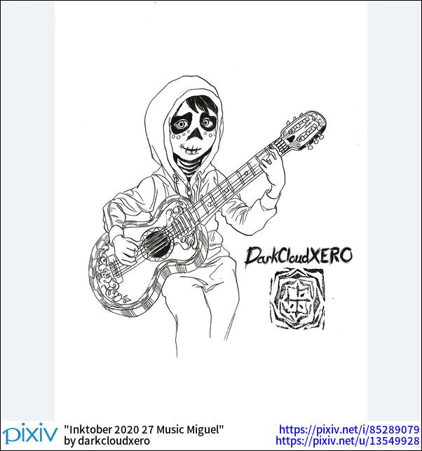Inktober 2020 27 Music Miguel
