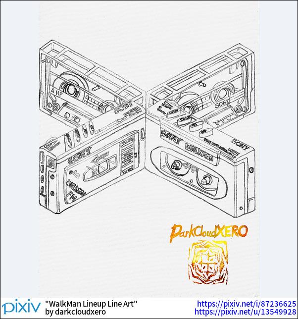 WalkMan Lineup Line Art