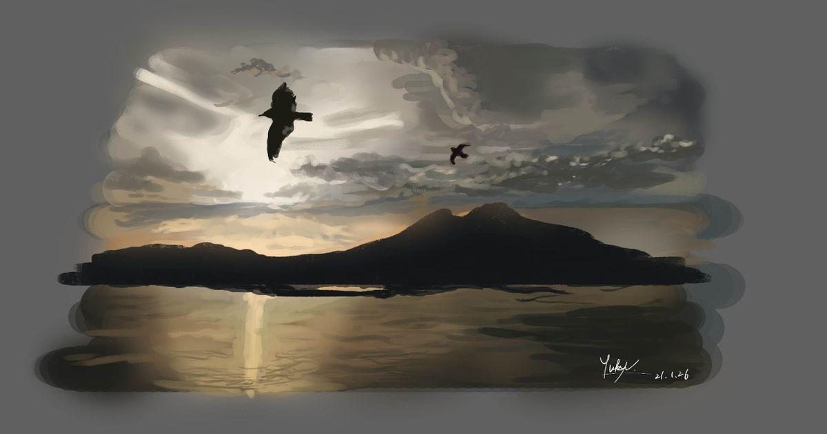 #背景イラスト ワンドロ【イタリア旅行】ヴェスヴィオ火山 - 悠久-Yukyu-のイラスト - pixiv