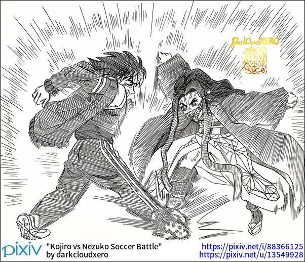Kojiro vs Nezuko Soccer Battle