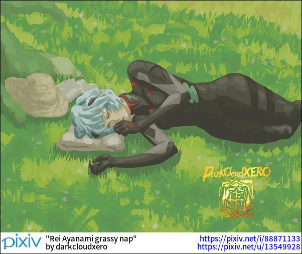 Rei Ayanami grassy nap